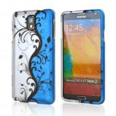Black Vines on Silver/ Blue Rubberized Hard Case for Samsung Galaxy Note 3