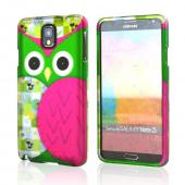 Hot Pink/ Green Owl Rubberized Hard Case for Samsung Galaxy Note 3