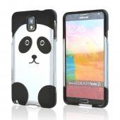 Silver/ Black Panda Bear Rubberized Hard Case for Samsung Galaxy Note 3
