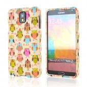 Retro Owls on Cream Rubberized Hard Case for Samsung Galaxy Note 3
