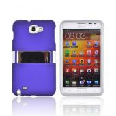 Samsung Galaxy Note Rubberized Hard Case w/ Chrome Kickstand - Purple