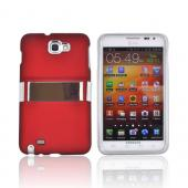 Samsung Galaxy Note Rubberized Hard Case w/ Chrome Kickstand - Red