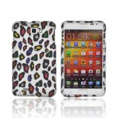 Samsung Galaxy Note Rubberized Hard Case - Rainbow Leopard on Silver