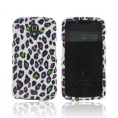 Samsung Galaxy Nexus Rubberized Hard Case - Colorful Leopard on White
