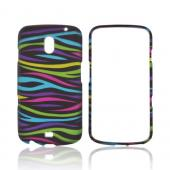Samsung Galaxy Nexus Rubberized Hard Case - Rainbow Zebra on Black