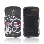 Samsung Galaxy Nexus Rubberized Hard Case - White Skulls & Hot Pink Hearts on Black