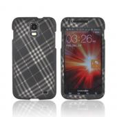 Samsung Galaxy S2 Skyrocket Rubberized Hard Case - Gray Plaid on Black