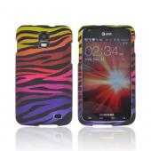 Samsung Galaxy S2 Skyrocket Rubberized Hard Case - Rainbow Zebra on Black