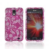 Samsung Galaxy S2 Skyrocket Rubberized Hard Case - White Flowers & Vines on Purple