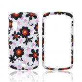 Samsung Stratosphere i405 Rubberized Hard Case - Black/ Red Daisies on White