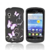 Samsung Stratosphere i405 Rubberized Hard Case - Purple Butterflies on Black