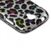 Rainbow Leopard on Silver Rubberized Hard Case for Samsung Stratosphere 2