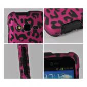 Hot Pink/ Black Leopard Rubberized Hard Case for Samsung Galaxy Rugby Pro