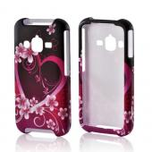 Hot Pink/ Purple Flowers & Heart Rubberized Hard Case for Samsung Rugby Pro