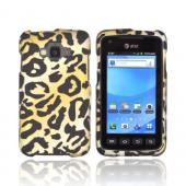 Samsung Rugby Smart i847 Rubberized Hard Case - Gold/ Black Leopard