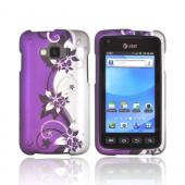 Samsung Rugby Smart i847 Rubberized Hard Case - Purple Vines/ Flowers on Silver
