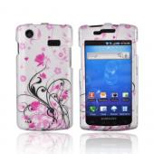 Samsung Captivate i897 Rubberized Hard Case - Pink Flowers & Black Vines on Gray