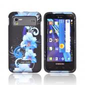 Samsung Captivate Glide i927 Rubberized Hard Case - Blue Flowers on Black