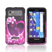 Samsung Captivate Glide i927 Rubberized Hard Case - Hot Pink/ Purple Flowers & Hearts