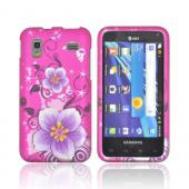 Samsung Captivate Glide i927 Rubberized Hard Case - Purple Hibiscus Flowers on Hot Pink
