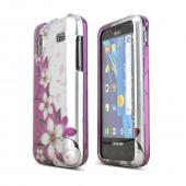 Samsung Captivate Glide i927 Rubberized Hard Case - Purple Vines/ Flowers on Silver