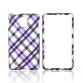 Samsung Infuse i997 Rubberized Hard Case - Purple Plaid on Silver