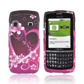 Samsung Replenish M580 Rubberized Hard Case - Hot Pink/ Purple Flowers & Hearts
