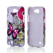 Pink Butterfly on White Rubberized Hard Case for Samsung Galaxy Note 2