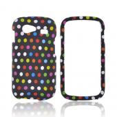 Google Nexus S Rubberized Hard Case - Colorful Polka Dots on Black