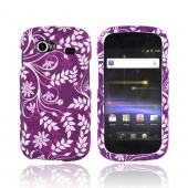 Google Nexus S Rubberized Hard Case - White Flowers & Vines on Purple