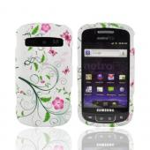 Samsung Rookie R720 Rubberized Hard Case - Pink Flowers & Butterflies w/ Green vines on White