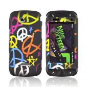 Samsung Sidekick 4G Rubberized Hard Case - Multi-Color Peace Signs on Black