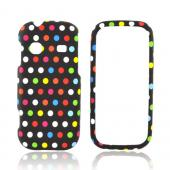 Samsung Gravity TXT T379 Rubberized Hard Case - Rainbow Polka Dots on Black