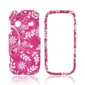 Samsung Gravity TXT T379 Rubberized Hard Case - White Vines & Flowers on Magenta