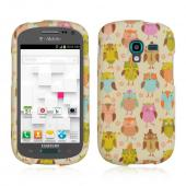 Retro Owls on Cream Rubberized Hard Case for Samsung Galaxy Exhibit