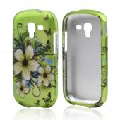 White Hawaiian Flowers on Green Rubberized Hard Case for Samsung Galaxy Exhibit