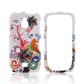Samsung Exhibit T759 Rubberized Hard Case - Rainbow Autumn Floral Design on White
