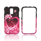 T-Mobile Samsung Galaxy S2 Rubberized Hard Case - Hot Pink/ Purple Flowers & Hearts