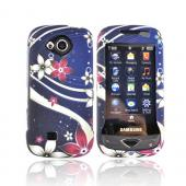 Samsung Reality SCH-U820 Rubberized Hard Case - Red/White Flowers Design On Blue