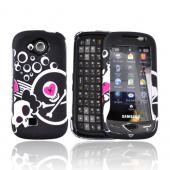 Samsung Reality SCH-U820 Rubberized Hard Case - White Skull And Pink Heart On Black