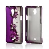 Purple Flowers/ Vines on Silver Rubberized Hard Case for Sony Xperia TL