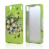 White Hawaiian Flowers on Green Rubberized Hard Case for Sony Xperia Z