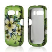 White Hawaiian Flowers on Green Rubberized Hard Case for ZTE Aspect F555