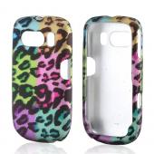 Multi-Colored Artsy Leopard Rubberized Hard Case for ZTE Aspect F555