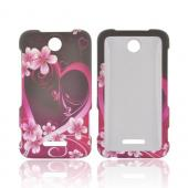 ZTE Score Rubberized Hard Case - Hot Pink/ Purple Flowers & Heart