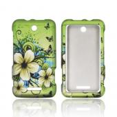ZTE Score X500 Rubberized Hard Case - White Hawaiian Flowers on Green