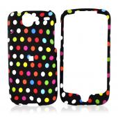 Google Nexus One Rubberized Hard Case - Colorful Polka Dots on Black