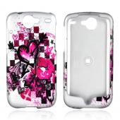 Google Nexus One Rubberized Hard Case - Pink Hearts, Lips, and Stars on Silver