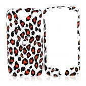 Google Nexus One Rubberized Hard Case - Orange/Black Leopard Print on White