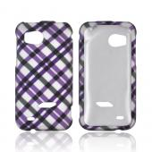 HTC Rezound Rubberized Hard Case - Purple/ Black Plaid on Silver